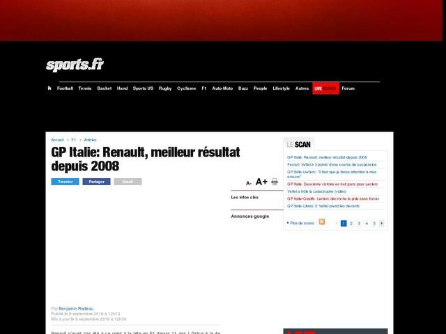 GP Italie: Renault, meilleur résultat depuis 2008
