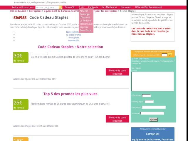 code cadeau Staples : reduction de 75 Eur pour 300 Eur jusqu'au 01/11/2017 - promo 2125441