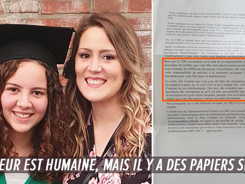 Katia, maman désemparée à Bruxelles: elle a cru que se fille était inscrite dans une école pour sa 1ère secondaire, c'était une erreur