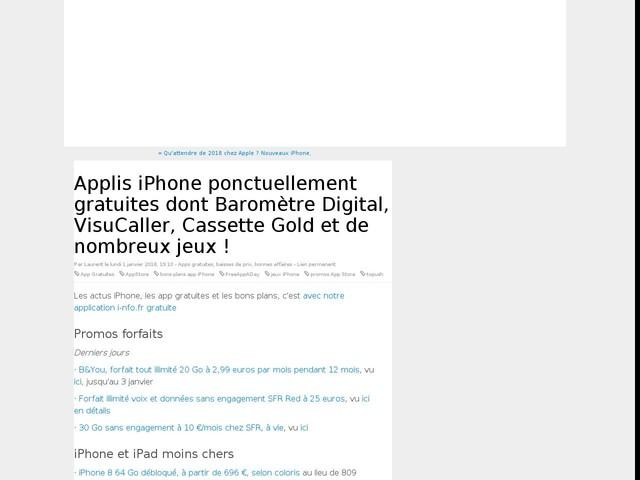 Applis iPhone ponctuellement gratuites dont Baromètre Digital, VisuCaller, Cassette Gold et de nombreux jeux !