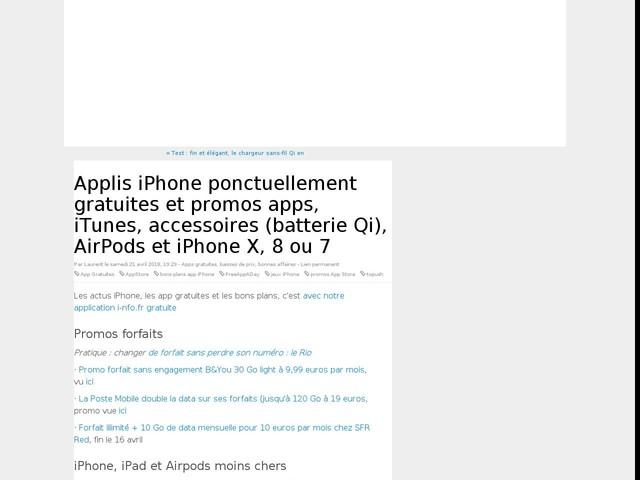 Applis iPhone ponctuellement gratuites et promos apps, iTunes, accessoires (batterie Qi), AirPods et iPhone X, 8 ou 7