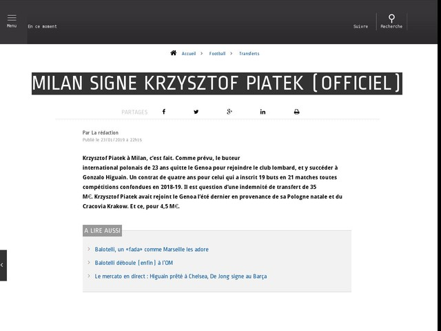 Football - Transferts - Milan signe Krzysztof Piatek (officiel)