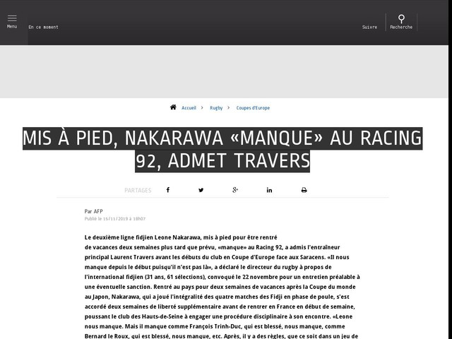 Rugby - Coupes d'Europe - Mis à pied, Nakarawa «manque» au Racing 92, admet Travers