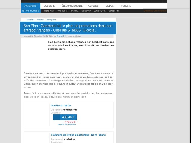 Bon Plan : Gearbest fait le plein de promotions dans son entrepôt français - OnePlus 5, M365, Qicycle...