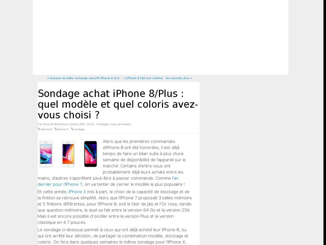 Sondage achat iPhone 8/Plus : quel modèle et quel coloris avez-vous choisi ?