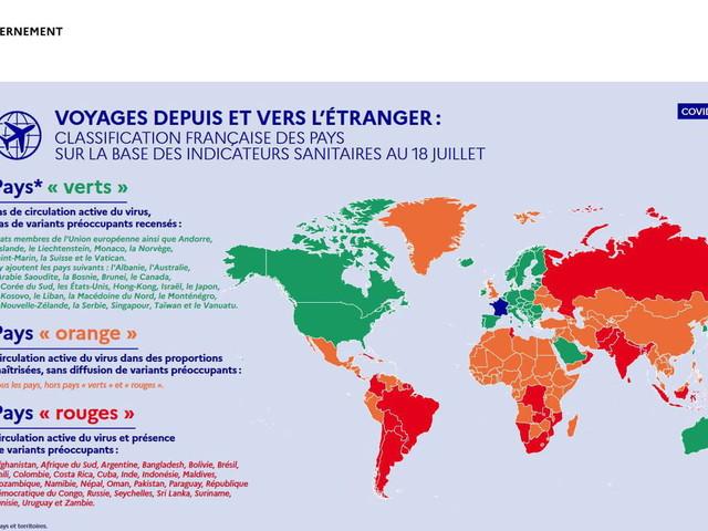 Voyage et Covid: nouvelle carte des pays verts au 19juillet, test de moins de 24h obligatoire pour 6pays