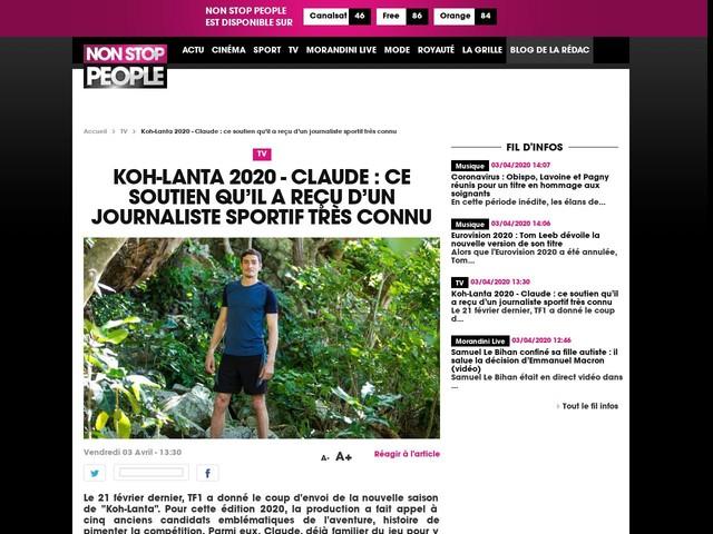 Koh-Lanta 2020 - Claude : ce soutien qu'il a reçu d'un journaliste sportif très connu