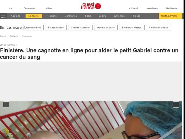 Finistère. Une cagnotte en ligne pour aider le petit Gabriel contre un cancer du sang
