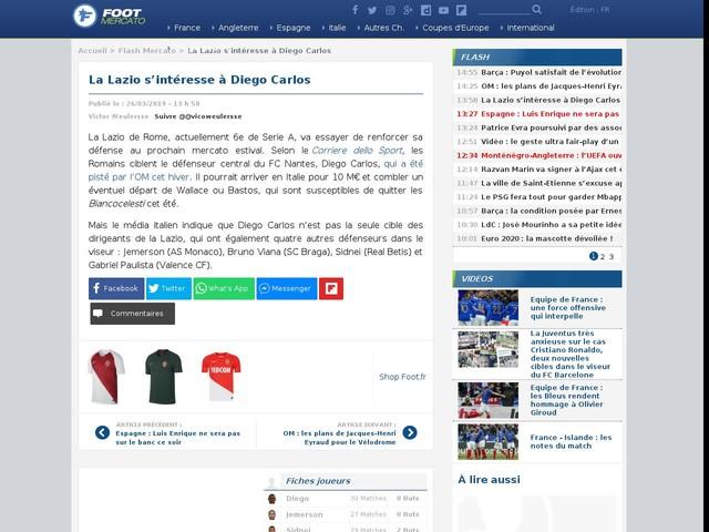 La Lazio s'intéresse à Diego Carlos
