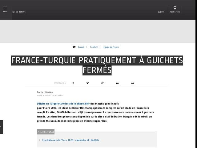 Football - Equipe de France - France-Turquie pratiquement à guichets fermés