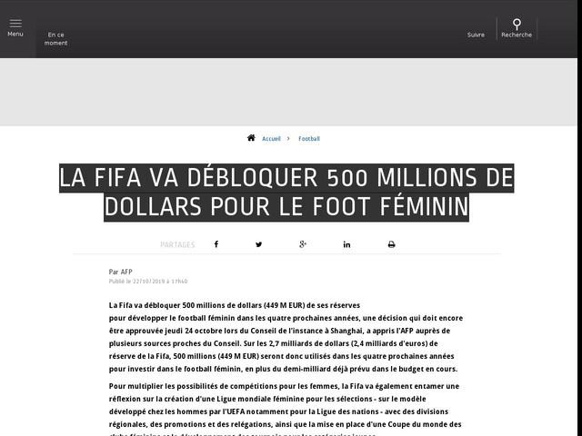 Football - La Fifa va débloquer 500 millions de dollars pour le foot féminin
