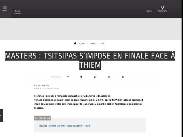 Tennis - ATP - Masters : Tsitsipas s'impose en finale face à Thiem
