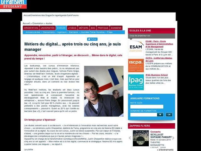 Métiers du digital... après trois ou cinq ans, je suis manager