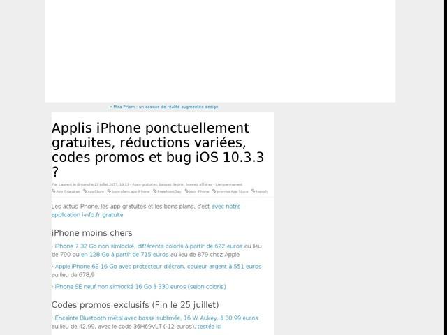 Applis iPhone ponctuellement gratuites, réductions variées, codes promos et bug iOS 10.3.3 ?
