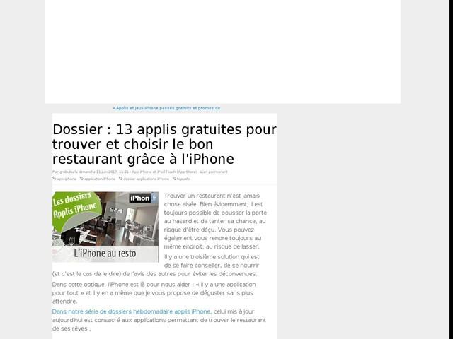 Dossier : 13 applis gratuites pour trouver et choisir le bon restaurant grâce à l'iPhone