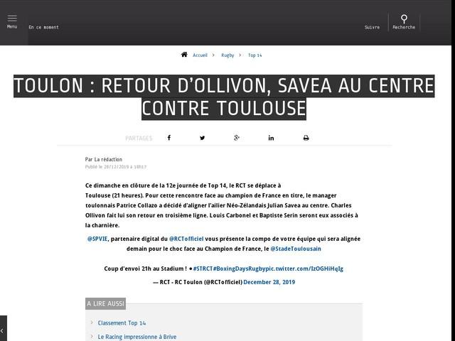 Rugby - Top 14 - Toulon : retour d'Ollivon, Savea au centre contre Toulouse