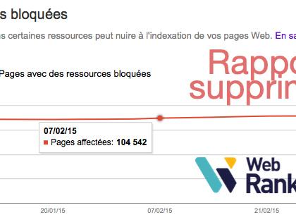 Disparition du rapport Ressources bloquées dans Google Search Console