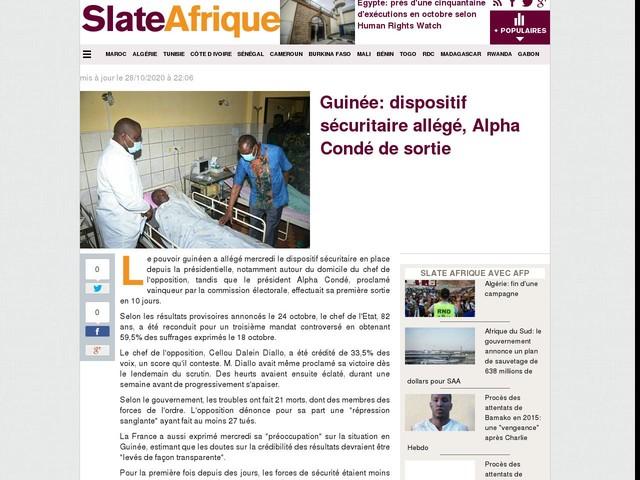 Guinée: dispositif sécuritaire allégé, Alpha Condé de sortie