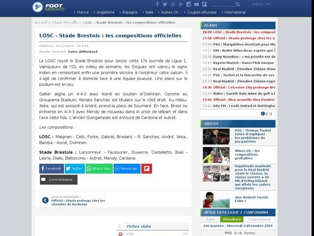 LOSC - Stade Brestois : les compositions officielles