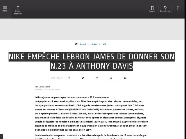 Basket - NBA - Nike empêche LeBron James de donner son N.23 à Anthony Davis