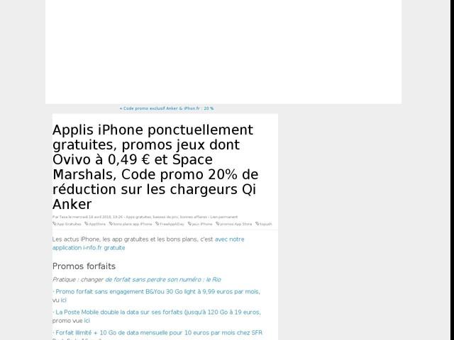 Applis iPhone ponctuellement gratuites, promos jeux dont Ovivo à 0,49 € et Space Marshals, Code promo 20% de réduction sur les chargeurs Qi Anker