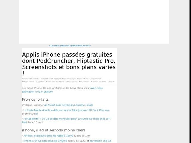 Applis iPhone passées gratuites dont PodCruncher, Fliptastic Pro, Screenshots et bons plans variés !