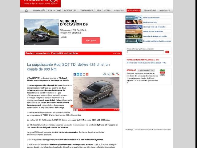 La surpuissante Audi SQ7 TDI délivre 435 ch et un couple de 900 Nm