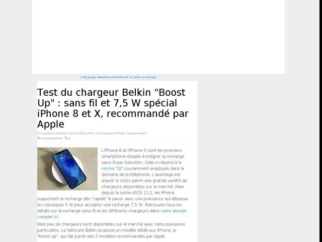 """Test du chargeur Belkin """"Boost Up"""" : sans fil et 7,5 W spécial iPhone 8 et X, recommandé par Apple"""
