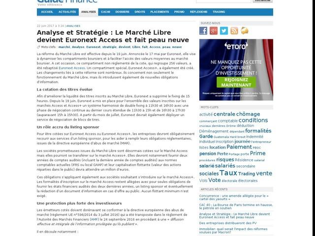 Analyse et Stratégie : Le Marché Libre devient Euronext Access et fait peau neuve