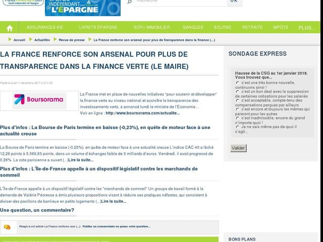 La France renforce son arsenal pour plus de transparence dans la finance verte (Le Maire)