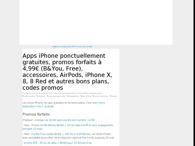 Apps iPhone ponctuellement gratuites, promos forfaits à 4,99€ (B&You, Free), accessoires, AirPods, iPhone X, 8, 8 Red et autres bons plans, codes promos