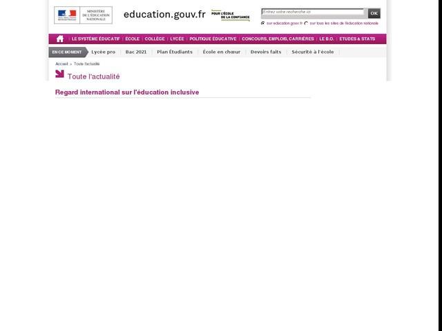 Regard international sur l'éducation inclusive - Information