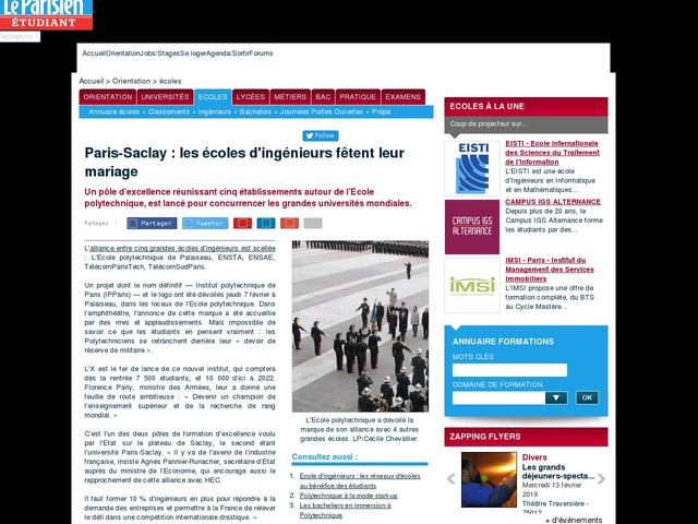 Paris-Saclay : les écoles d'ingénieurs fêtent leur mariage