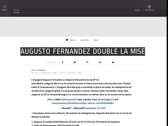 Auto/Moto - Augusto Fernandez double la mise