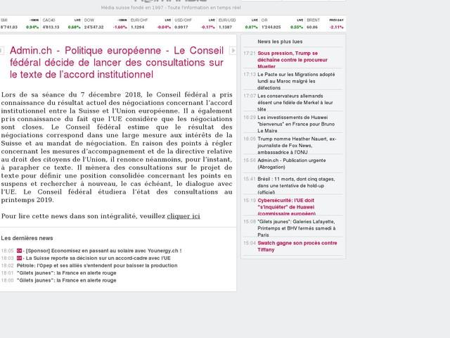 Admin.ch - Politique européenne - Le Conseil fédéral décide de lancer des consultations sur le texte de l'accord institutionnel