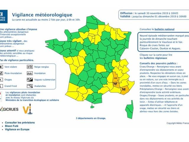 La météo de dimanche : vigilance orange dans 3 départements du sud est