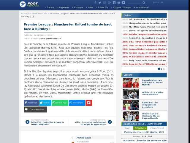 Premier League : Manchester United tombe de haut face à Burnley !
