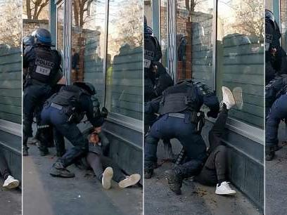 Le manifestant frappé au sol samedi àParis a été déféré pour des violences envers les forces de l'ordre