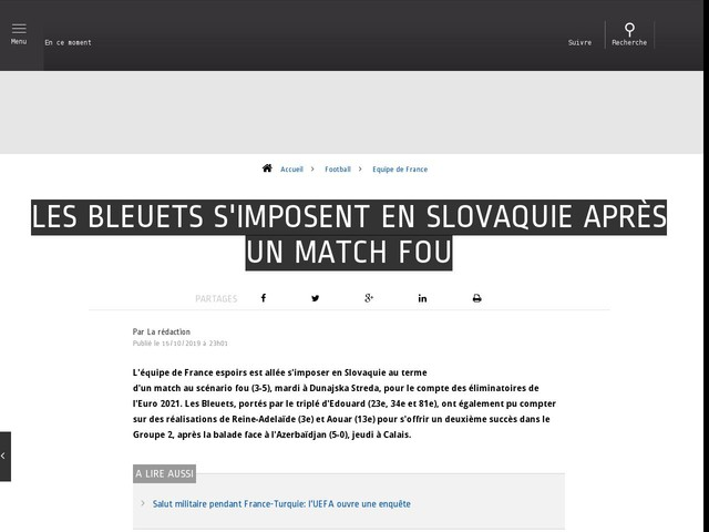 Football - Equipe de France - Les Bleuets s'imposent en Slovaquie après un match fou