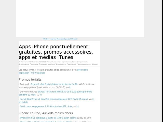 Apps iPhone ponctuellement gratuites, promos accessoires, apps et médias iTunes