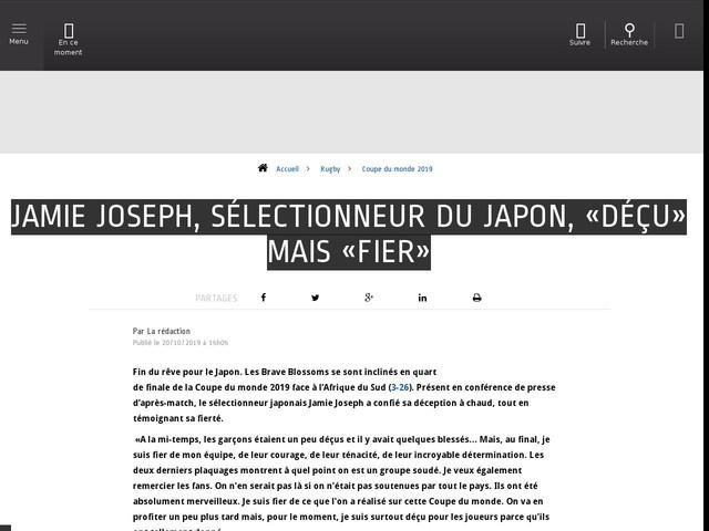 Rugby - Coupe du monde 2019 - Jamie Joseph, sélectionneur du Japon, «déçu» mais «fier»