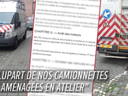 """Thierry constate que deux camionnettes Ores restent 30 minutes, moteur allumé, à ne rien faire: """"On l'interdit aux automobilistes !"""""""