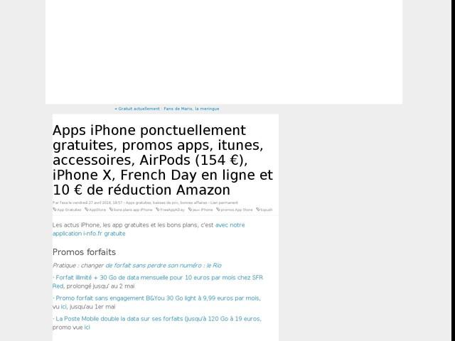 Apps iPhone ponctuellement gratuites, promos apps, itunes, accessoires, AirPods (154 €), iPhone X, French Day en ligne et 10 € de réduction Amazon