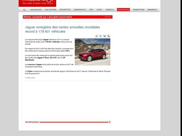Jaguar enregistre des ventes annuelles mondiales record à 178 601 véhicules