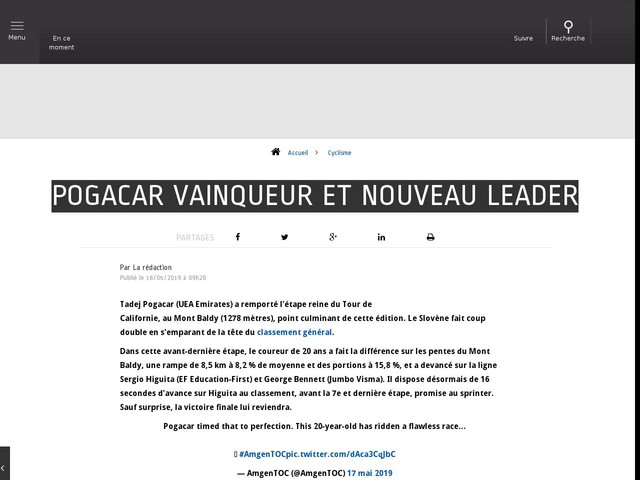 Cyclisme - Pogacar vainqueur et nouveau leader