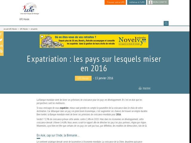 Expatriation : les pays sur lesquels miser en 2016