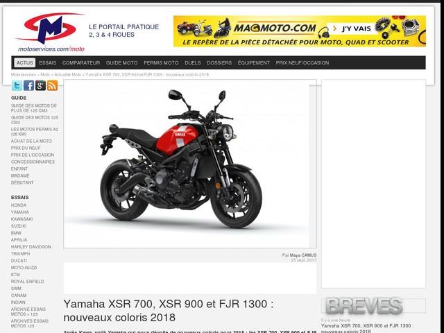 Yamaha XSR 700, XSR 900 et FJR 1300 : nouveaux coloris 2018