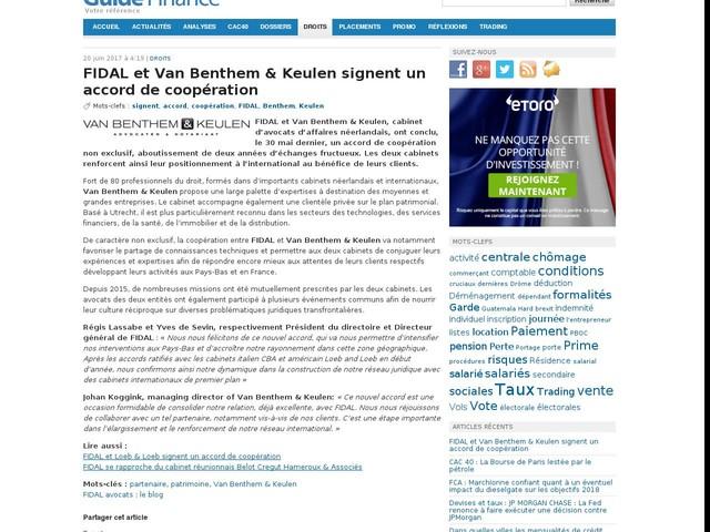 FIDAL et Van Benthem & Keulen signent un accord de coopération