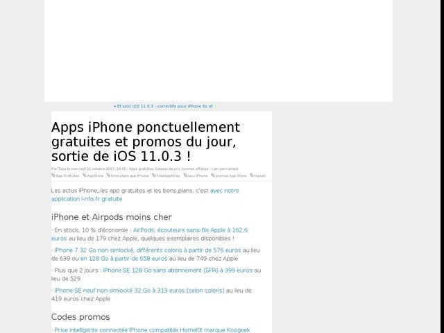 Apps iPhone ponctuellement gratuites et promos du jour, sortie de iOS 11.0.3 !