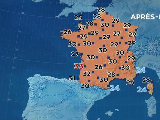 Météo : 30°C pour presque tout le monde, découvrez la carte des températures